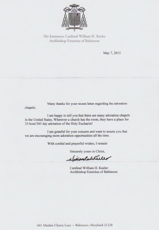 Letter Bishop Baltimore
