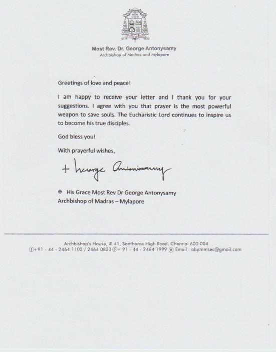 Letter Bishop India
