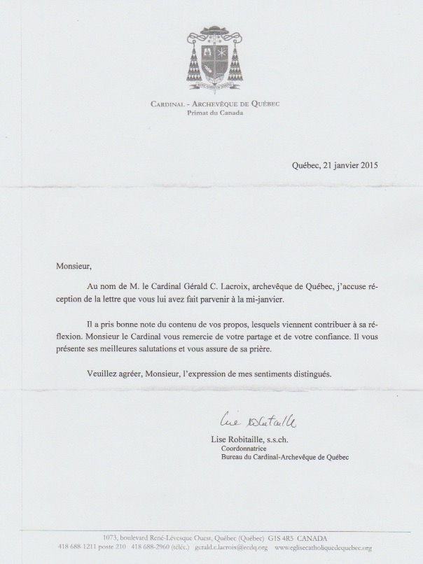 Letter Cardinal Gagnon